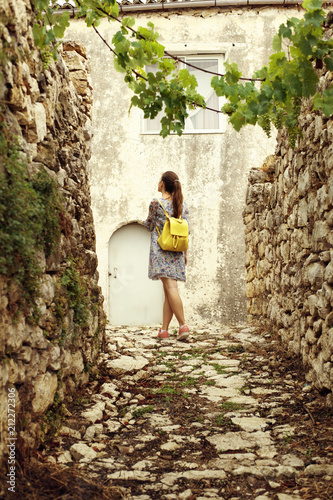 Old town Himara, south of Albania, stone houses and walls. Wallpaper Mural