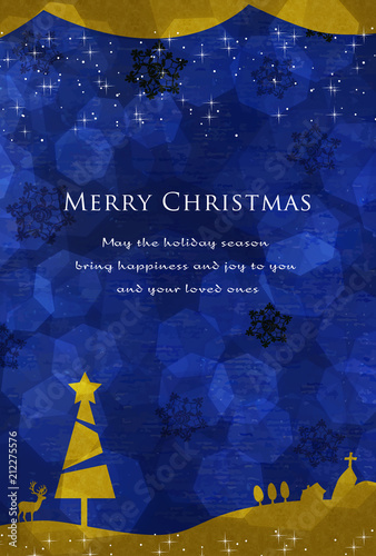 Fotografía  クリスマスカード ハガキサイズ 青とゴールド 夜