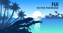 Vector Panorama Of Fiji With Banded Iguana