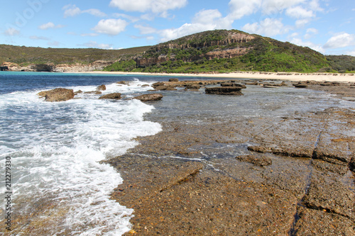 Poster Oceanië Flat Rock - Moonee NSW Australia. South of Newcastle this stretch of coastline is undeveloped with amazing coastal vistas.