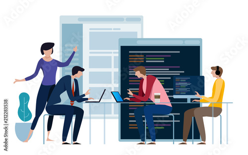 Fototapeta Developing programming and coding technologies. Website design. Programmer working in a software develop company office in a team work. obraz