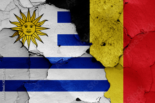 Deurstickers Zuid-Amerika land flags of Uruguay and Belgium