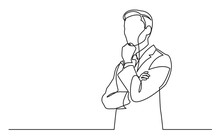 Continuous Line Drawing Of Businessman Thinking Hard