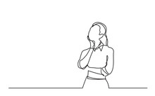 Continuous Line Drawing Of Standing Woman Thinking