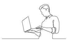 Continuous Line Drawing Of Man Watching Laptop Computer