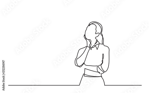 Fotomural continuous line drawing of standing woman thinking
