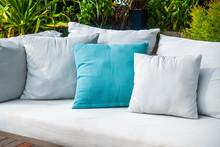Comfortable Pillow On Sofa Decoration Outdoor Patio
