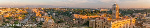 Fotografia Top view of  Rome city skyline with Colosseum and Roman Forum