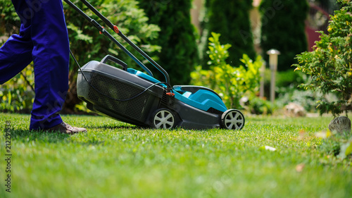 Tela The grass mower in actione
