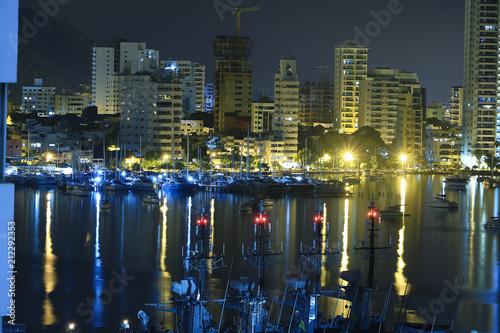 Cartagena Colombia Panoramic view. Night view Bahía Bocagrande Cartagena de Indias
