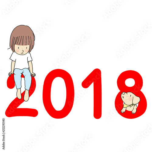 Vector Illustration Of 2018 Happy New Year Greeting Card