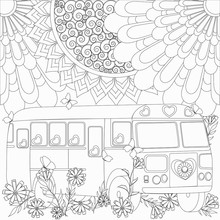 Coloring With Flower Pattern And Bus