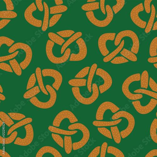 Fotografie, Obraz  Pretzels seamless vector pattern on a green background