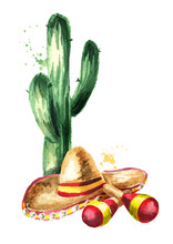 Cinco De Mayo Hat Sombrero, Mexican Maracas And Green Cactus Composition. Hand Drawn Watercolor Illustration, Isolated On White Background
