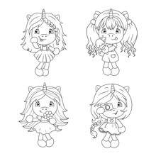 Cute Baby Unicorns Coloring Page For Girls. Vector.