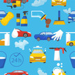 Car wash vector car-washing service with people cleaning auto or vehicle illustration set of car-wash and characters washers or cleaners polishing automobile seamless pattern background