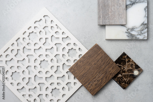Photo  samples of material, wood , on concrete table