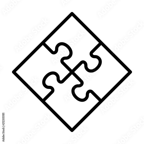 Square four pieces of jigsaw puzzle or