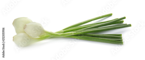 Deurstickers Verse groenten Fresh green onion on white background