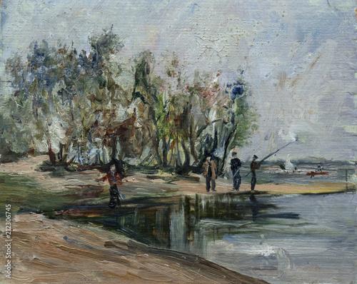 Staande foto Donkergrijs landscape, oil painting, hand made