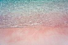 Pink Beach And Splash Wave In Komodo National Park, Indonesia