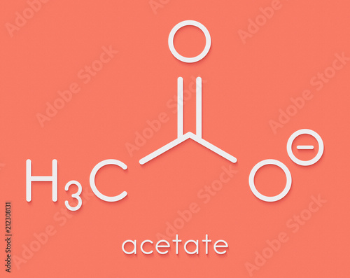Fotografering Acetate anion, chemical structure. Skeletal formula.