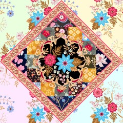 Seamless patchwork pattern with stylized mandala, leaves, flowers, butterflies and paisley border in ethnic style. Vector summer background. Indian, indonesian motives.