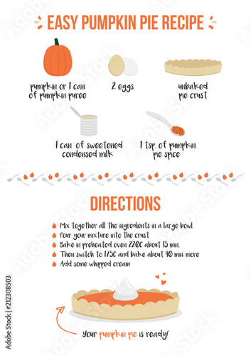 Fototapeta Vector illustration of easy pumpkin pie recipe with cute cartoon ingredients icons, A4 size for web and print.