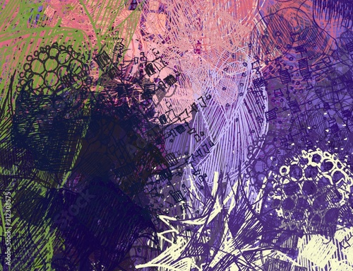 Spoed Foto op Canvas Violet Abstract painting on canvas. Hand made art. Colorful texture. Modern artwork. Strokes of fat paint. Brushstrokes. Contemporary art. Artistic background image.