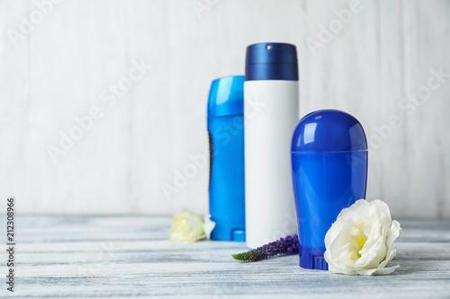 Photo Different deodorants on white background