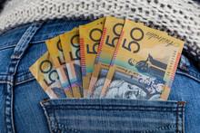 50 AUD Bills In Fan Shape Placed In Female Jeans Back Pocket