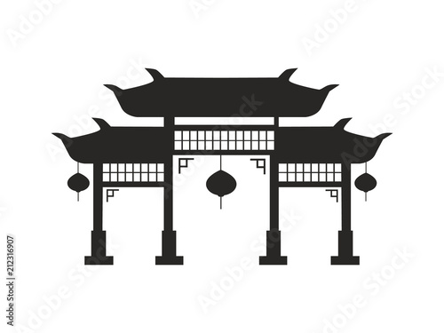 Chinese Arches with Lanterns Black Silhouette Fototapet