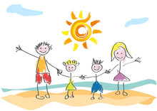 Vector Drawing Made By A Child, Happy Family On Vacation At The Beach
