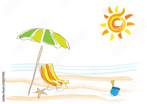 Vector background summer on the beach, childish drawing handmade. © puckillustrations