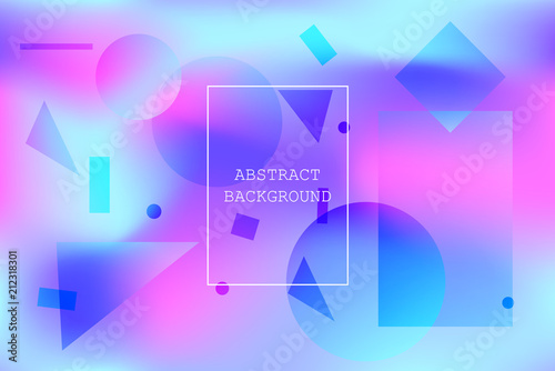 Fotografía  Calm vibrant background with blue and pink abstract geometric shapes