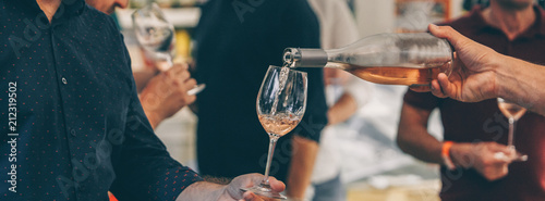 Fotografie, Obraz Rose Wine Tasting and Rose Sparkling Wine