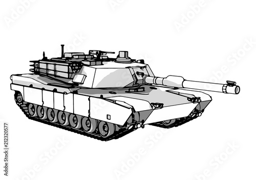 Photo sketch of military tank vector art