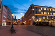 Karolinenstrasse in Augsburg, Germany, during the blue hour in winter