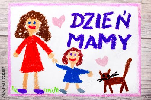 Fototapeta Kolorowy ręczny rysunek przedstawiający laurkę na Dzień Matki obraz