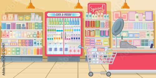 Supermarket with food shelves vector illustration  Modern