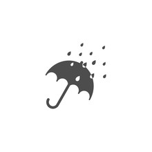 Black Open Umbrella With Rain Drops. Flat Icon Isolated On White. Flat Design. Vector Illustration.