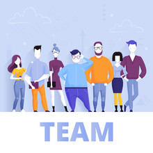 Concept Of Successful Business Team Standing Together. Vector Cartoon Illustration.