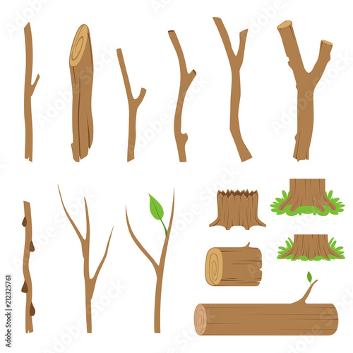 Fototapeta Hemp, logs, branches and sticks of forest trees. Vector illustration obraz