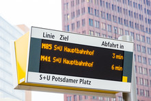 Bus Stop Electronic Indicator In Berlin, Germany
