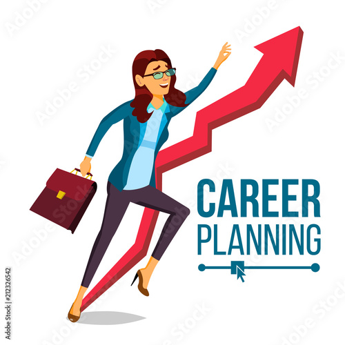 Business Woman Career Planning Vector Fast Career Growth Achieve Goal Huge Red Arrow More Profit Isolated Cartoon Illustration Buy This Stock Vector And Explore Similar Vectors At Adobe Stock Adobe Stock
