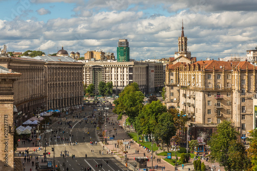 Spoed Foto op Canvas Kiev KIEV - UKRAINE - Juluy 2018. View to kreshyatik street from top of CUM mall.