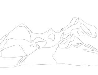 landscape mountains, lines, vector