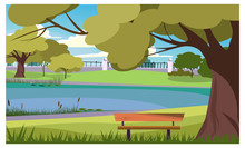 Tranquil Park With Wooden Bench At Lake Vector Illustration. Rustic Scape With Large Tree. Outdoors Illustration