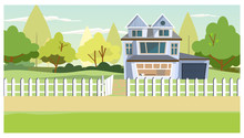 Village House With Old Fence. Cottage With Garage, Trees Behind House. Countryside Property Concept. Illustration Can Be Used For Topics Like Dwelling, Rural Scene, Real Estate