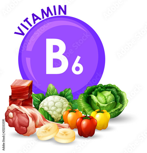 Fotografía  Variety of different foods with Vitamin B6